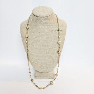 J. Crew Gold & Rhinestone Balls Necklace